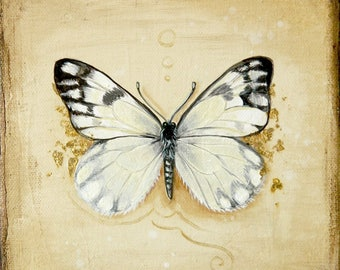"Original oil painting Checkered White 15x15 cm (6x6"") nature wildlife butterfly wall art Pontia protodice"