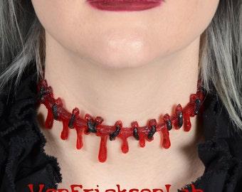 Dripping Blood Stitch Necklace Choker  -Creepy Cute Horror