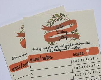 Printable Wine Tasting Score Cards- Instant Download