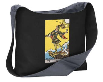 Fool Tarot card wide strap shoulder sling bag tote purse computer gag gift