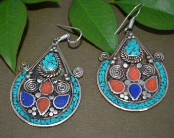 Coral Turquoise lapis Earrings,Ethnic Silver,Boho,Nepal Jewelry,Tribal Vintage Earrings,Silver Antique Earrings Afghan Jewelry