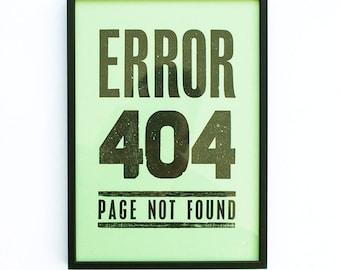 A4 Error 404 Letterpress Poster