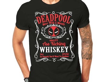 Inspired By The DeadPool Character Mashup T Shirt Black ScreenPrinted Design All Sizes