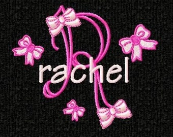 Girly Bows Monogram Font Embroidery Designs