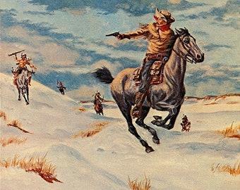 Pony Express Rider Vintage Western Cowboy Postcard SIGNED Byron Wolf (unused)