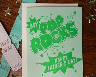 letterpress my pop rocks happy father's day greeting card candy lover sweet tooth retro