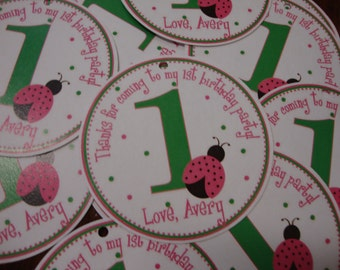 Pink Ladybug Birthday Party Favor Tags
