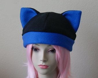 Fleece Cat Hat / BLACK + ROYAL BLUE Navy Beanie Style Cap Cute Anime Neko Cosplay Cat Ears Kitty Ears Kawaii Japanese Fashion