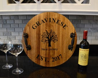 Personalized Wine Barrel Tray | Custom Serving Tray | Personalized Serving Tray | Wedding Gift | Housewarming Gift | Rustic Tray