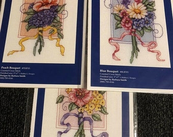 MAYniaSALE Bobbie G. Designs, Set of 3, Counted Cross Stitch Patterns Includes 3 Bouquet patterns Peach, Blue, and Pink