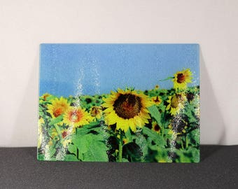 Textured Glass Cutting Board with Sunflowers
