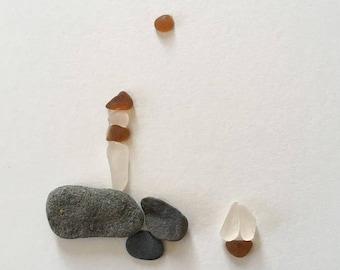 Sea Glass and Rock 'Light the way home' unframed art lighthouse sailboat PEI