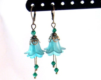 "Teal Blue & Brass ""Fairy"" Flower Earrings, Teal jewelry, Blue Jewelry, Aqua jewelry, Womens Fashion, Gifts for Her, Christmas Gifts"