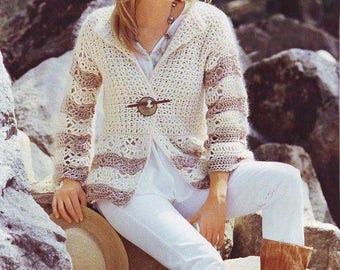 Ladies White crochet cardigan / custom