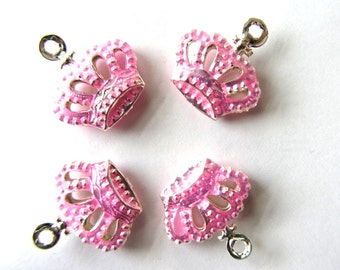 8 Pink Brass Enamel CROWNS Charms 2-sided
