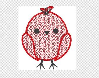 Little Birdie Embroidery Design Instant Download solid design and applique design