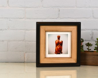 6x6 Picture Frame in Burnished Natural Alder Build Up Style with Vintage Black Finish - IN STOCK - Same Day Shipping - 6 x 6 Square Frame