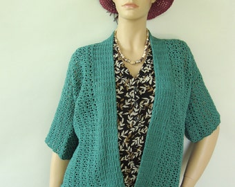 Crochet Cardigan, Kimono Cardigan, Cardigan Women, Crocheted Cardigan, Teal Cardigan, Hemp Cardigan, Gift for Her, Available in S, M and XL