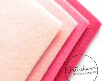 Pack of 8 Sheets A4 Acrylic Felt for Crafting - Assorted Pink