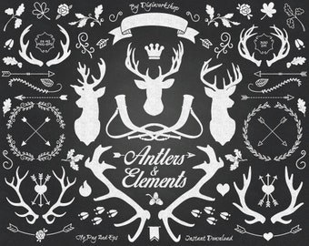 """Chalkboard Clipart: """"Chalkboard Antlers and Elements"""" clip art contains silhouettes deers, antlers and other elements in chalkboard style"""