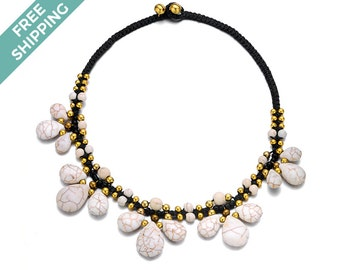 White Stone and Black and Gold Beaded Costume Jewellery Necklace