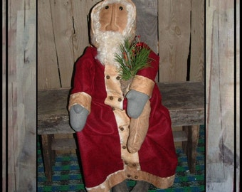 SALE mailed paper pattern tall primitive folk art Santa rag doll w stocking HAFAIR ofg faap Lucys Lazy Dayz 367