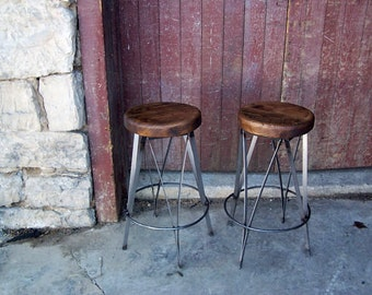 Free Shipping Reclaimed Wood and Metal Ice Cream Parlour Stools