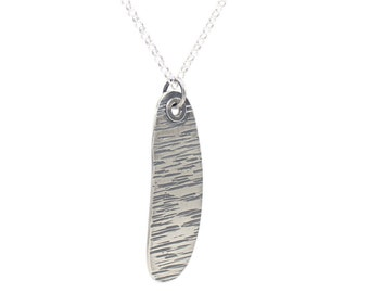 LINES Women's Sterling Silver Pendant, Gift for Her, Textured, Curved Necklace, Teardrop Shape, Unusual Design, Something Different