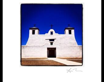 St. Augustine - Photographic Print or Canvas Wrap - Chicago Photography Artwork - New Mexico - Santa Fe fine art home church decor blue sky