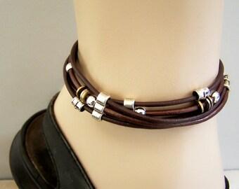 Men Ankle Bracelet, Leather Bracelet, Metallic Brown and Bronze, Or Black, Unisex Anklet, Petite to Plus Size Ankle