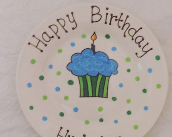 Happy Birthday Plate - Personalized Plate - Hand Painted Plate - Ceramic Plate - Serving Plate - Gift Plate - Birthday Gift