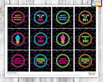 """Back To The 90s Retro BIrthday Party Cupcake Toppers Party Circles - Personalized Digital Printable 8.5x11"""" .pdf"""