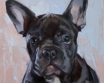 Dog Oil Painting, Pet Portraits, Original Art, Bulldog, Animal Painting, 8x8 in