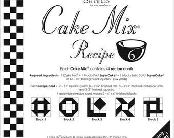 Moda Cake Mix Recipe Card 6 - Quilt Pattern - Foundation Piecing - Layer Cake Foundation Papers - Easy Paper Piecing - Half Square Triangles
