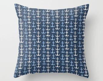 Nautical Pillow cover Anchor Pillow Cover Decorative Pillow Cover Beachy Pillow Navy Pillow