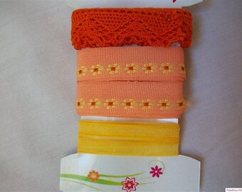 Set of 3 orange salmon yellow coordinated ribbons