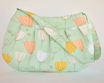 Pleated Fabric Purse, Small - Blue with Tulips - Buttercup bag, cotton, handbag, blue, floral, flowers, pink, yellow, white, spring