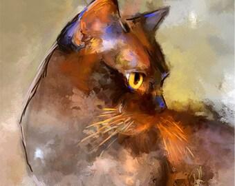 Elli - Burmese Cat Print - Limited Edition Kitty Art  - Free Shipping