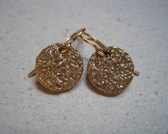 Highly Textured Bronze Disk Earrings - Bronze Earrings - Textured Earrings