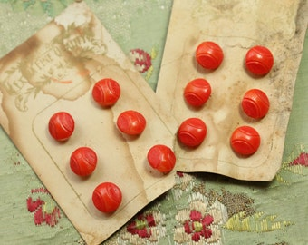Antique lot  Czech base balls glass tiny buttons on card red orange tomato gorgeous incised pattern  3/8 new old stock french doll dressing