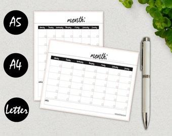 Blank Calendar, Calendar Template, 2017 Calendar Printable, Calendar Planner, Calendar Template 2017, Monthly Calendar A5, INSTANT DOWNLOAD
