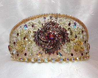 Red and gold ballet headpiece featuring vintage jewels. Ballet Headpiece. Dance Headpiece.Ready to ship.