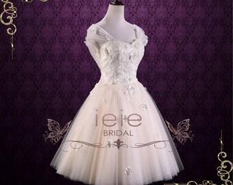 Vintage Inspired Short Tea Length Lace Wedding Dress | Rosie