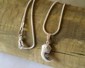 Necklace with 925 silver Fang pendant, fang pendant, necklace with 925 silver tusk Pendant