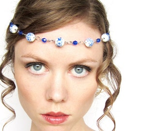 REDUCED PRICE Oriental Fantasy Circlet in White Blue and Silver