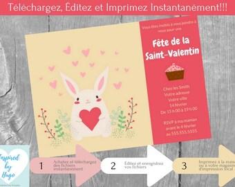 Invitation fête d'enfants Saint-Valentin, La Saint Valentin, Téléchargement Instantané, Invitation en français Éditable à Personnaliser