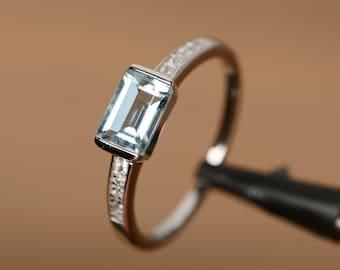 Natural  aquamarine ring emerald cut gemstone March birthstone ring silver ring anniversary ring