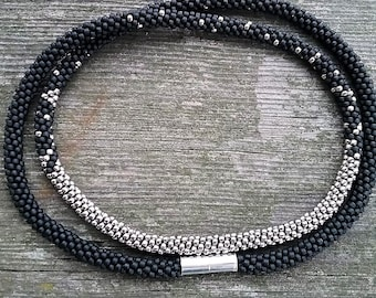 Matte Black and Silver Kumihimo Beaded Necklace