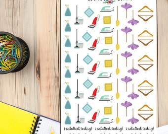 Housework Cleaning Planner Stickers | Household Chores | Ironing Vacuuming Dusting | Housework Stickers | Cleaning Stickers (S-069)