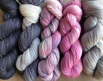 In Stock Fade Kit, Sock Weight Superwash Merino Wool, Indie Dyed, Merino, Fading Point Kit, Shawl Yarn Kit,